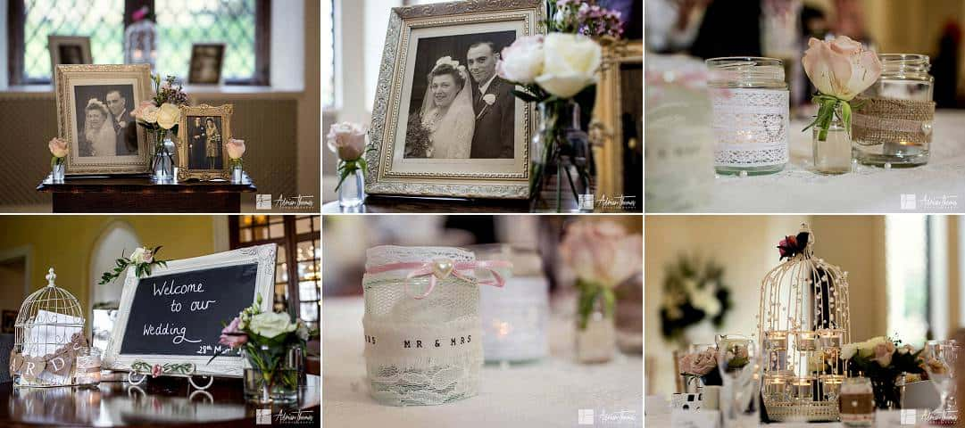 Images of wedding reception accessories.