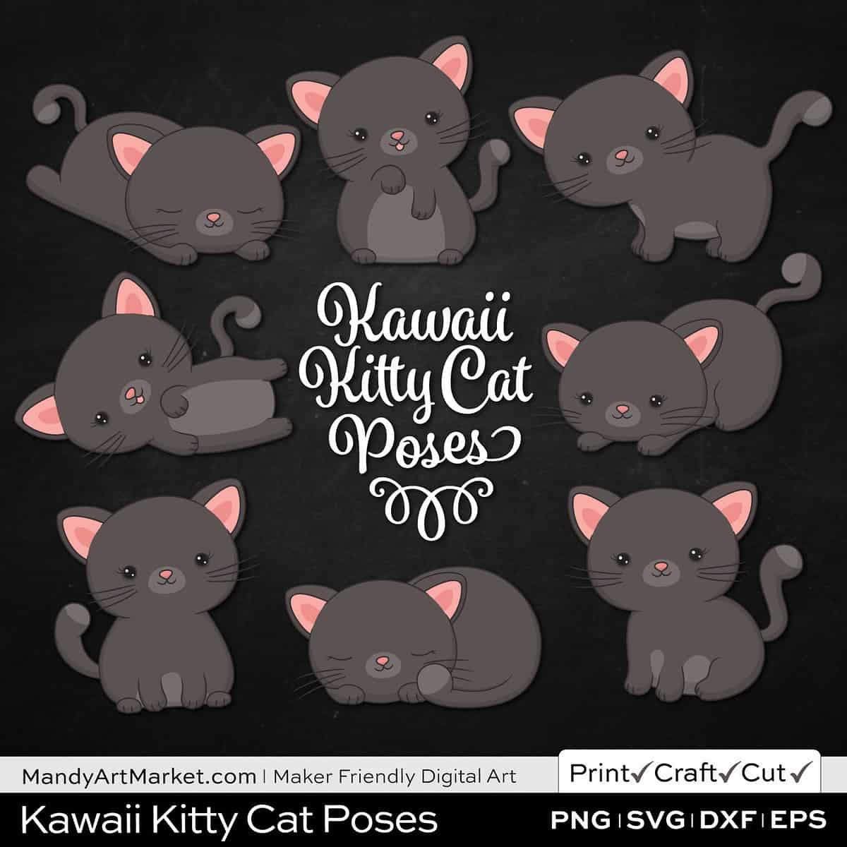 Gunmetal Gray Kawaii Kitty Cat Poses Clipart on Black Background