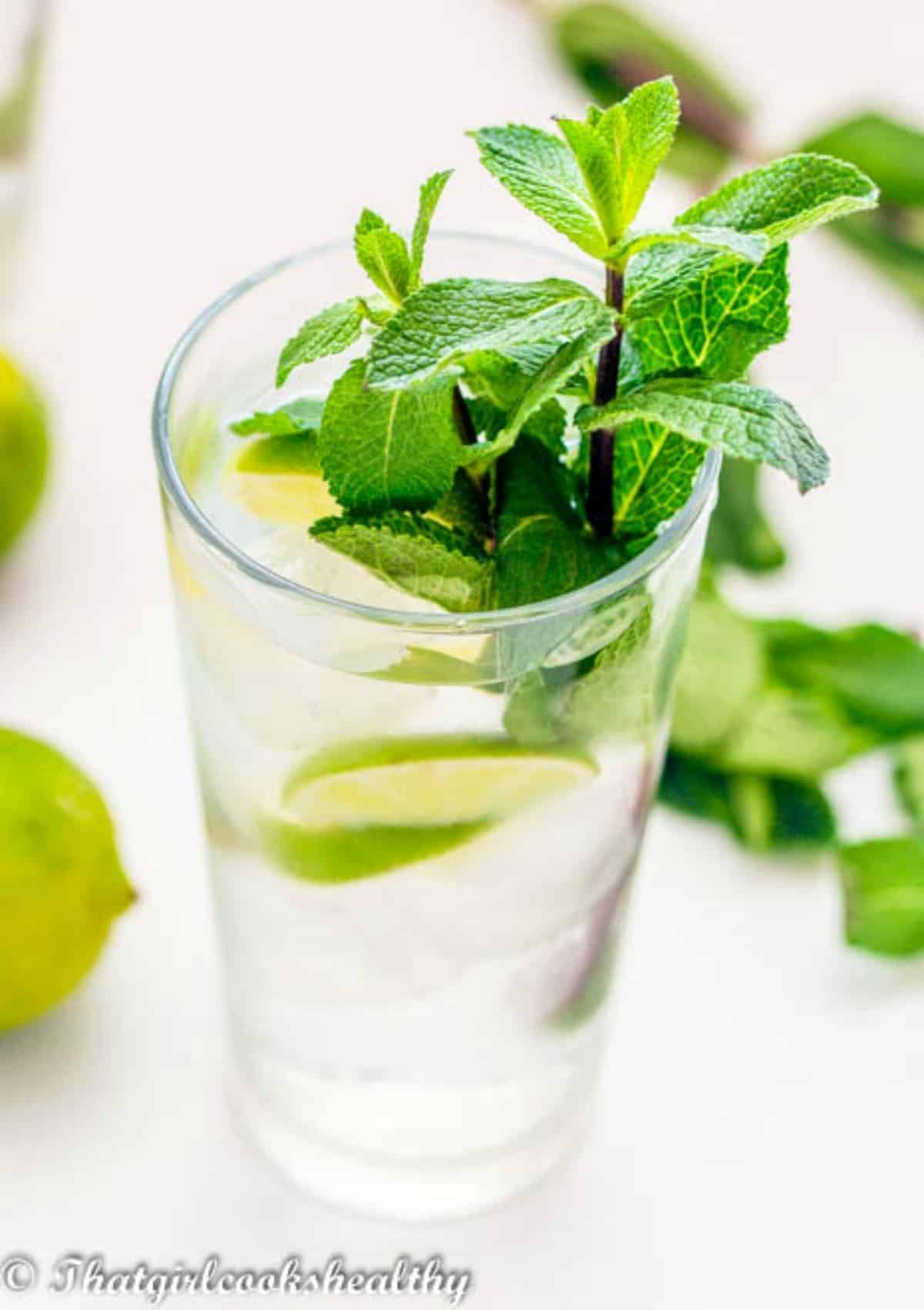 Single glass of lime drink