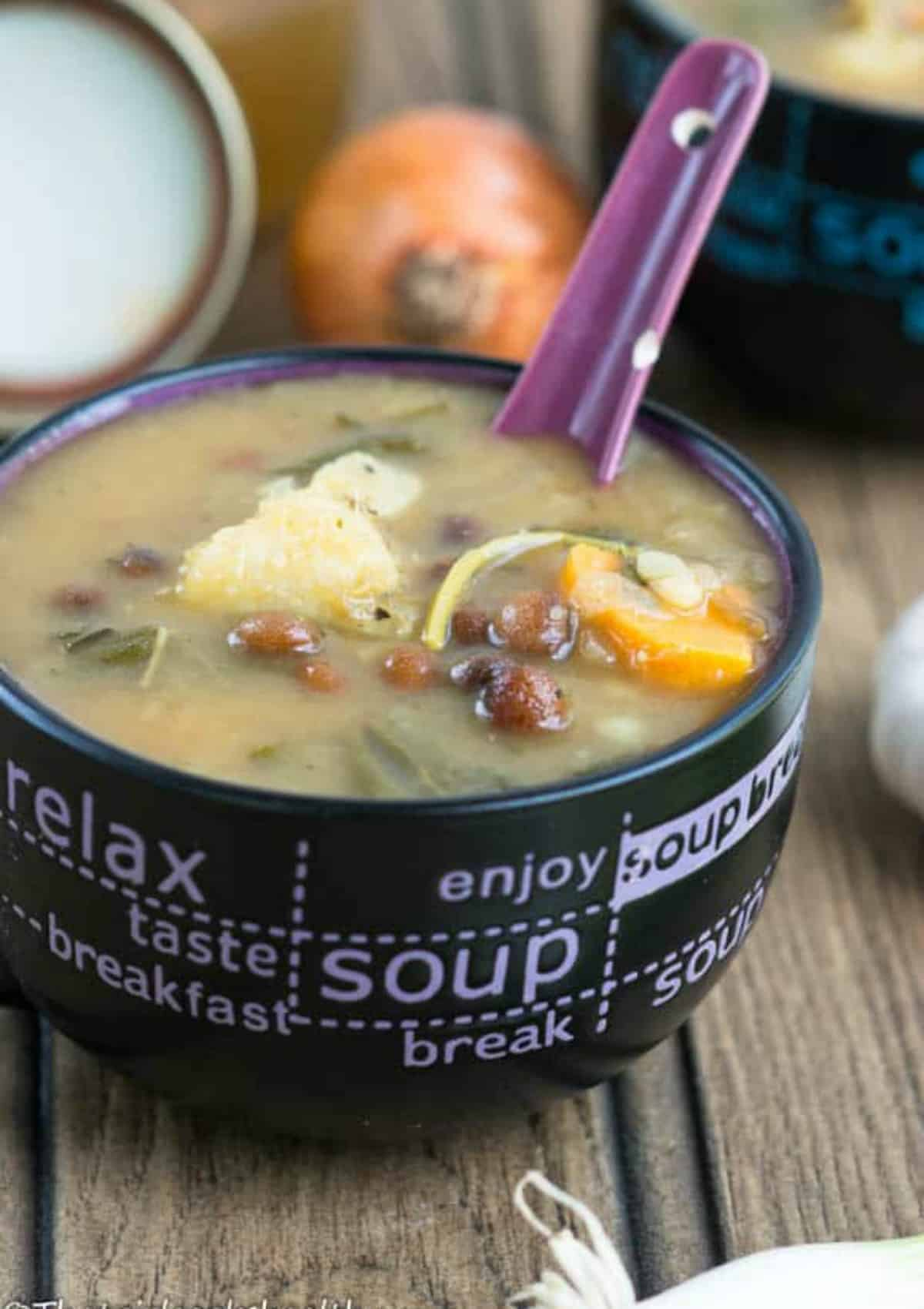 soup with a small spoon