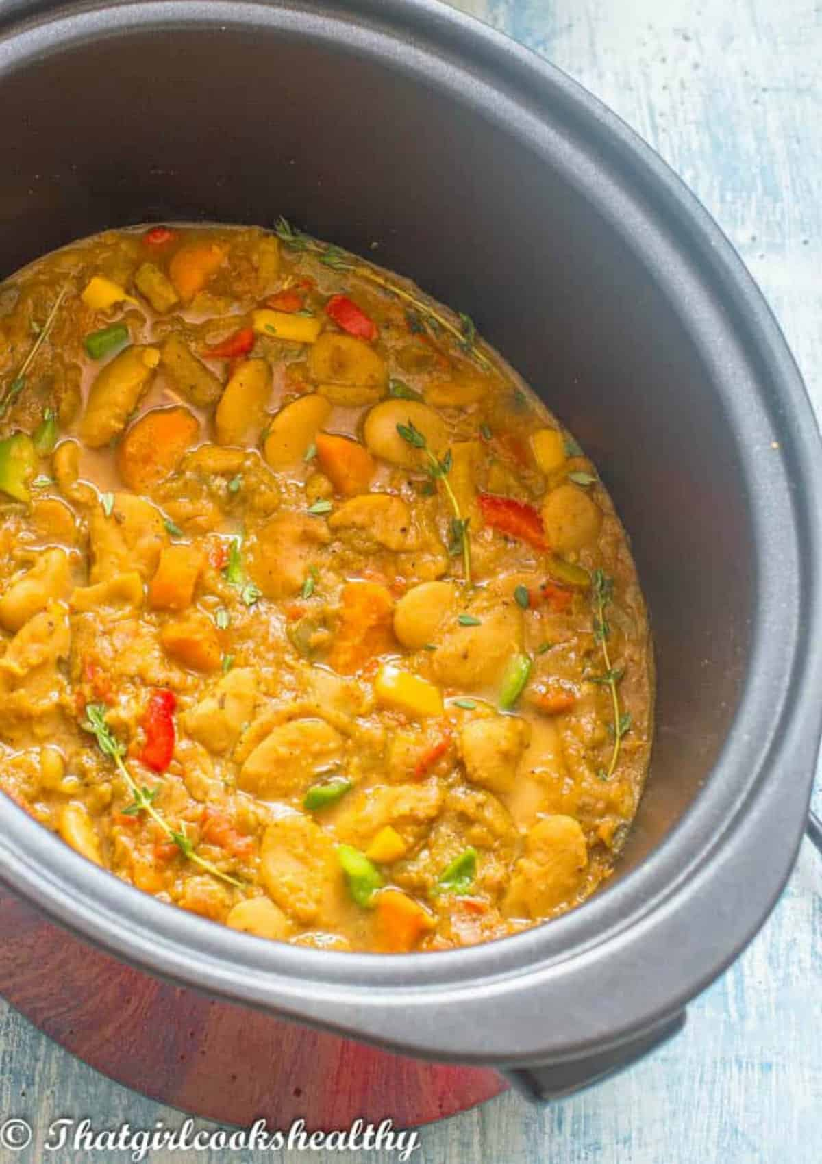 Angled view of the curry