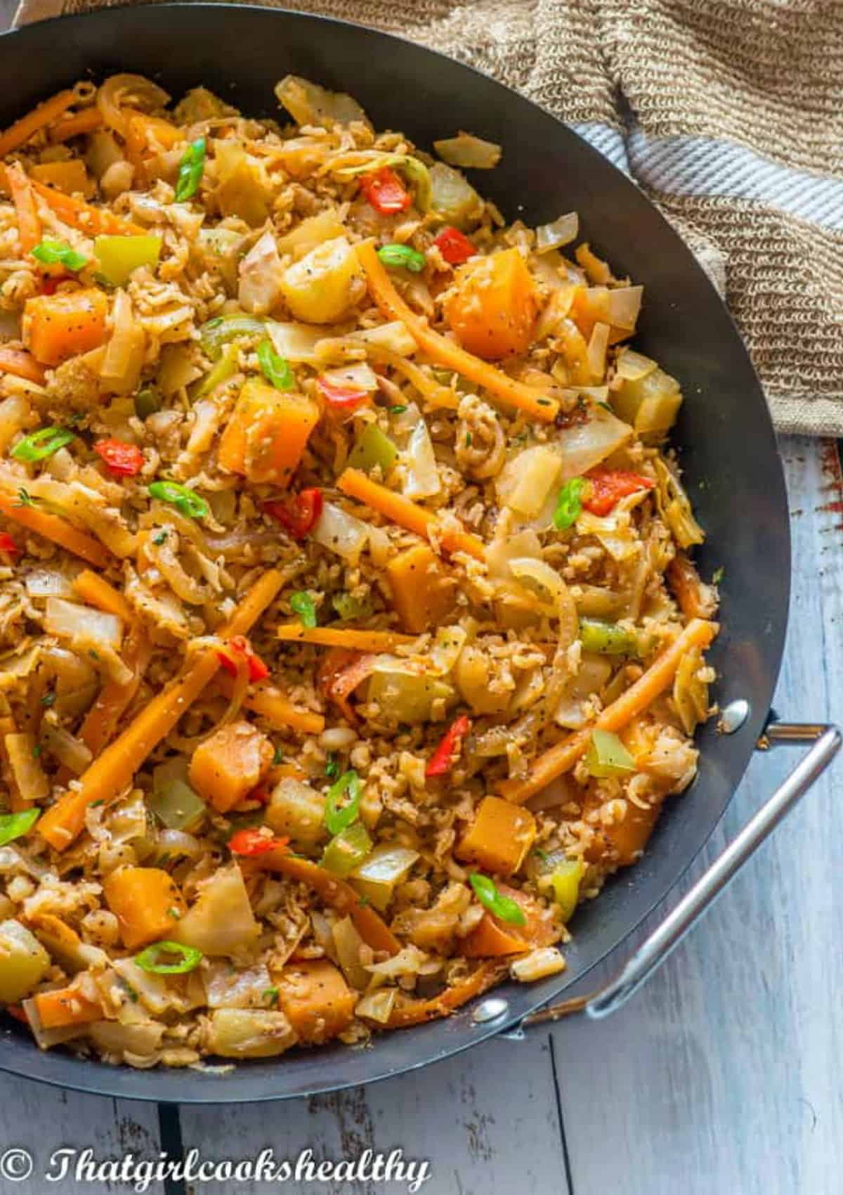 Close up of the pan of fried rice