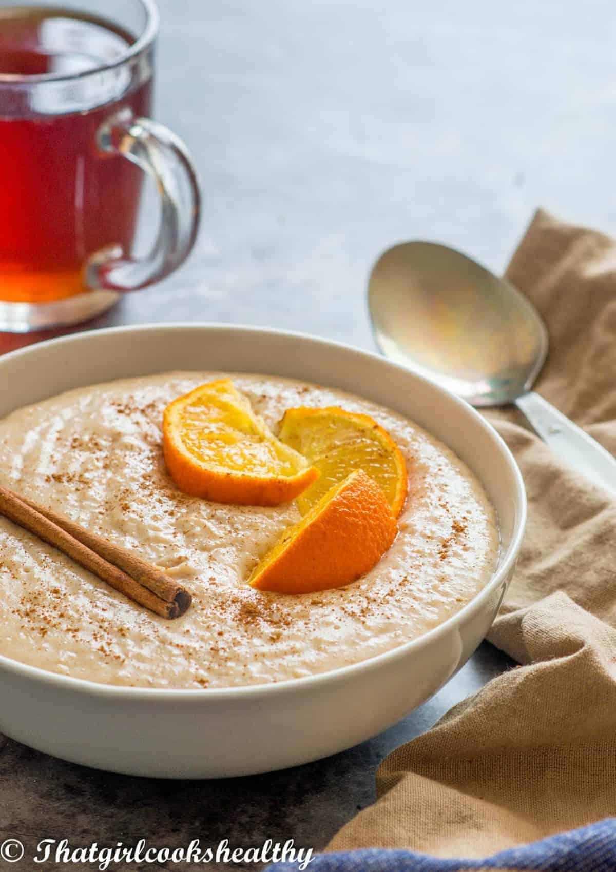 porridge with orange topping