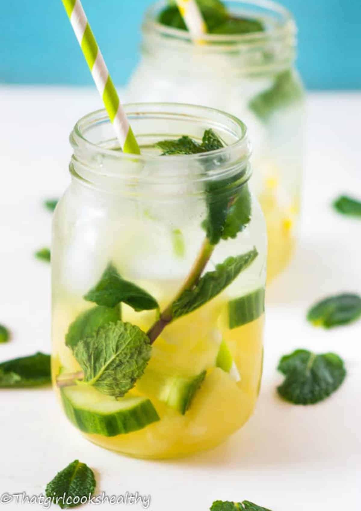 single glass of fruit water