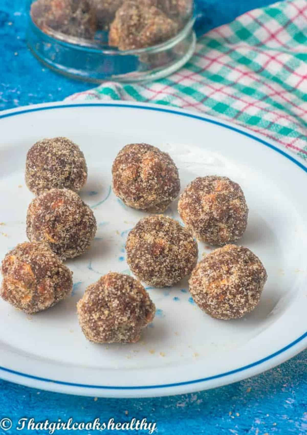 balls on a white plate
