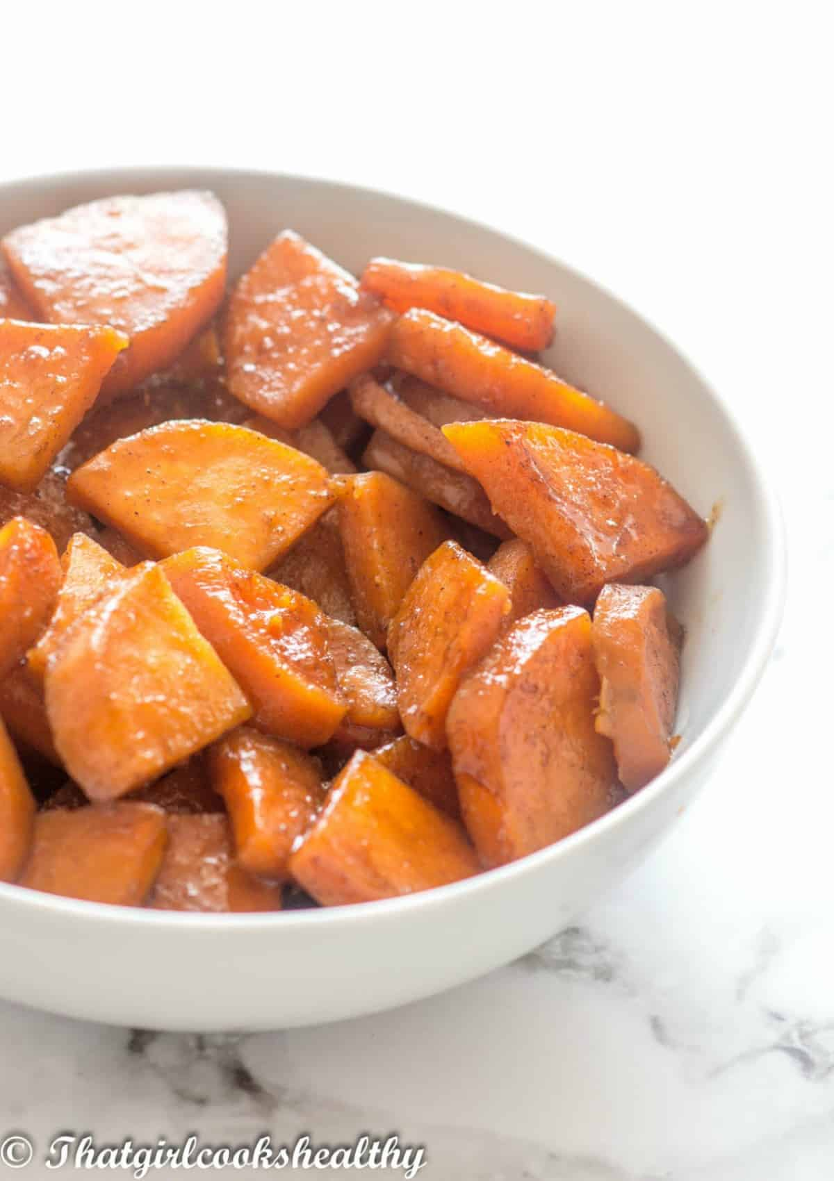 side shot of the candied yams
