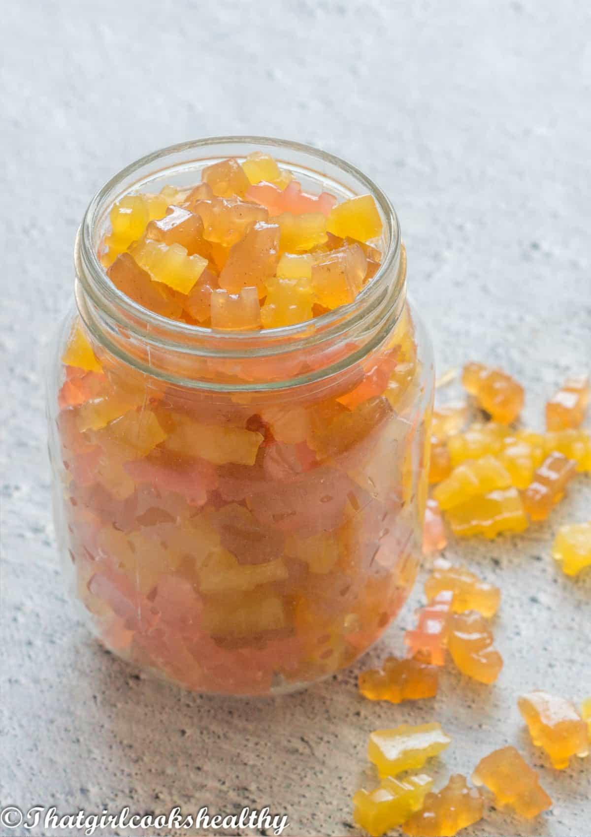 Assorted gummies in a mason jar