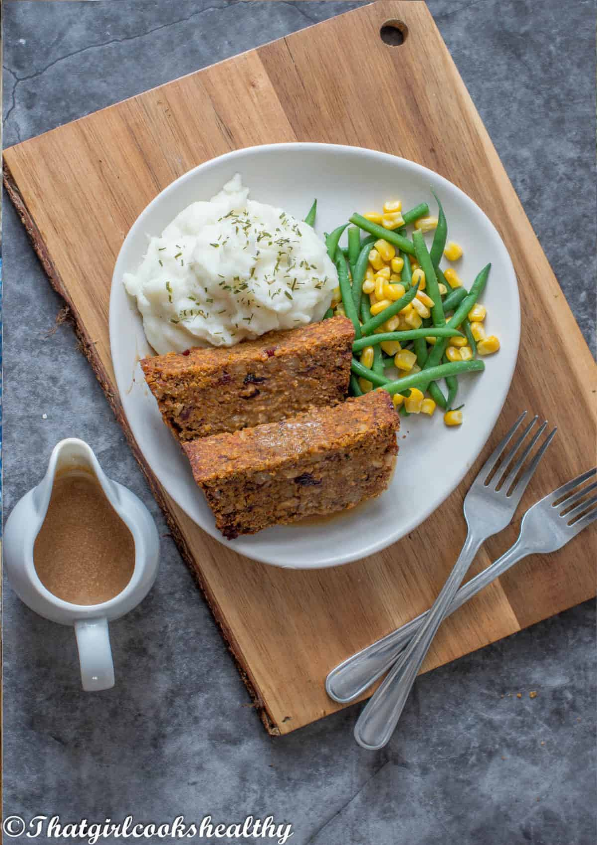 Nut roast, vegetables and mashed potatoes