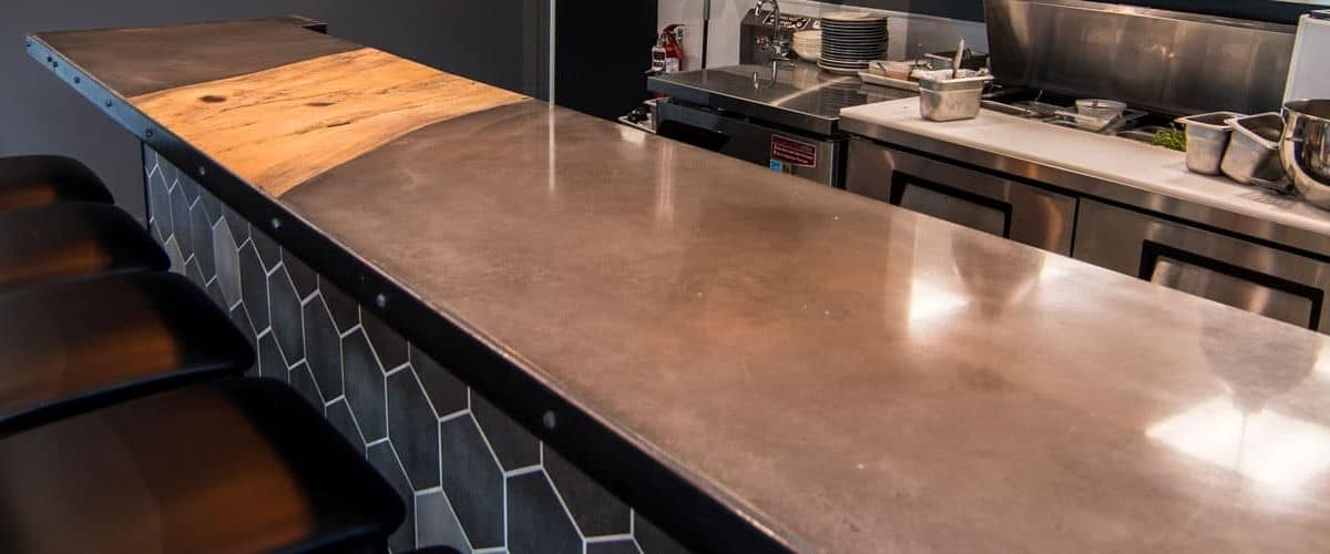 Restaurant Concrete Countertop with Wood