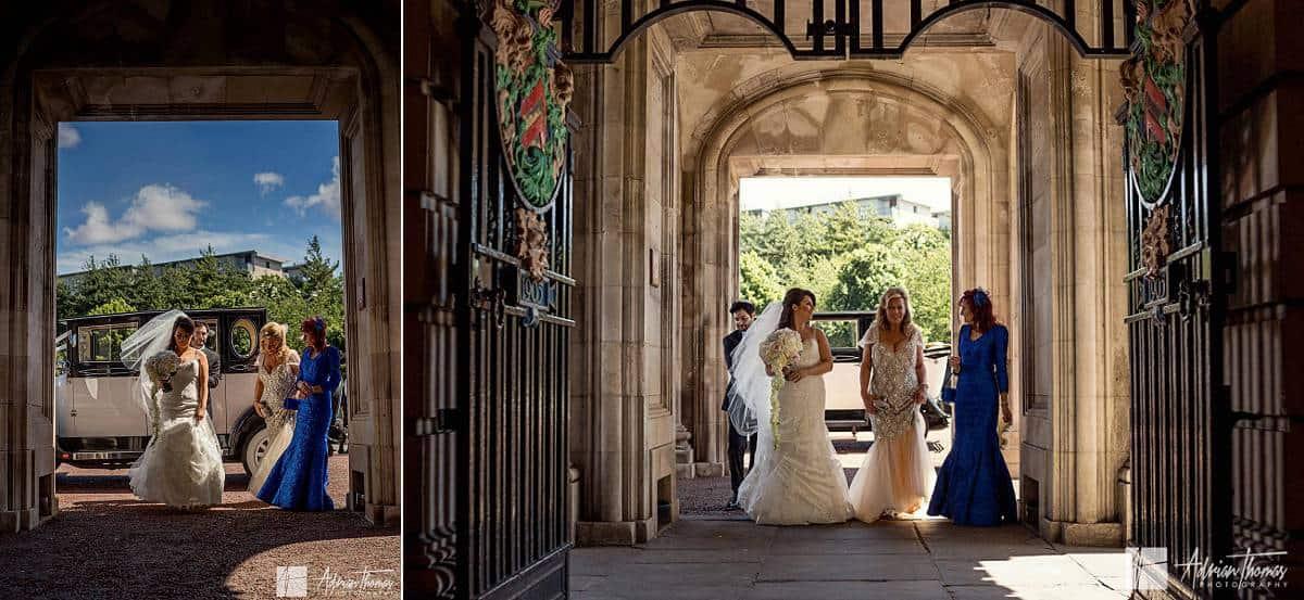 Bride arriving at Cardiff City Hall Jewish wedding.
