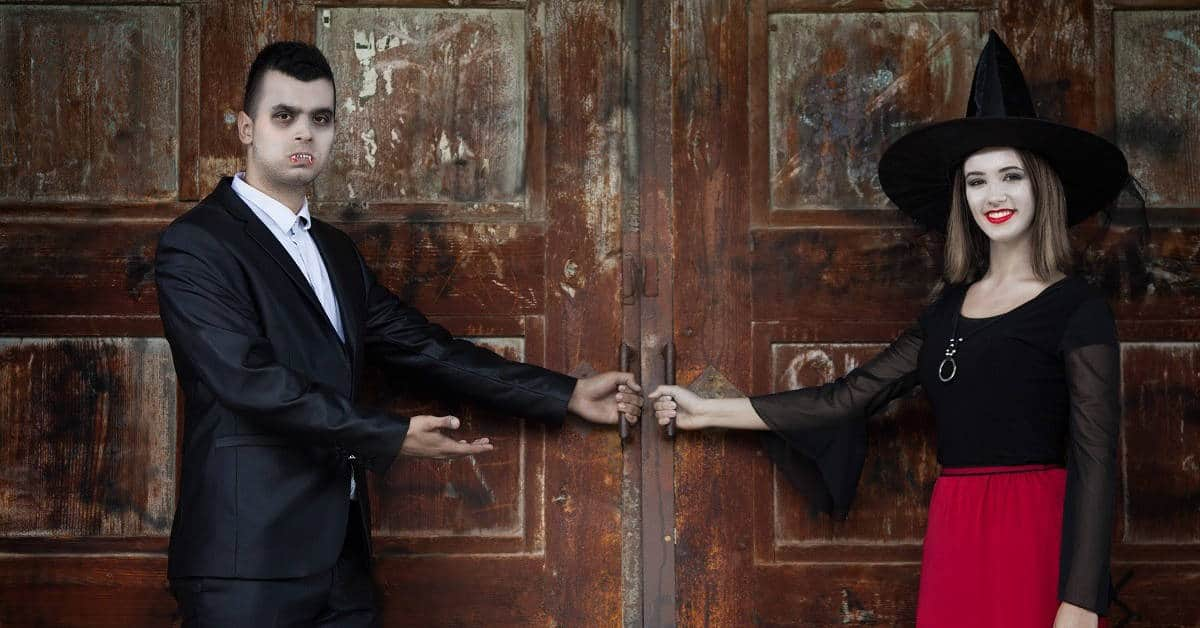 A vampire and a witch opening the doors for you to enter the Haunted Tours. Sandlapper Water Tours Blog