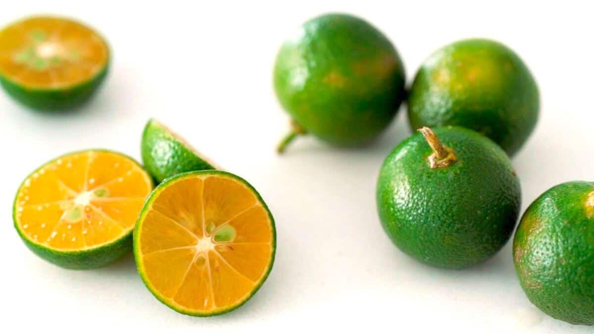 Calamansi is a green-skinned orange-flesh citrus fruit that's fragrant and tart.