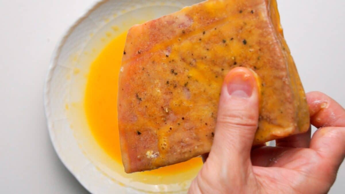 Wagyu steak coated in egg.