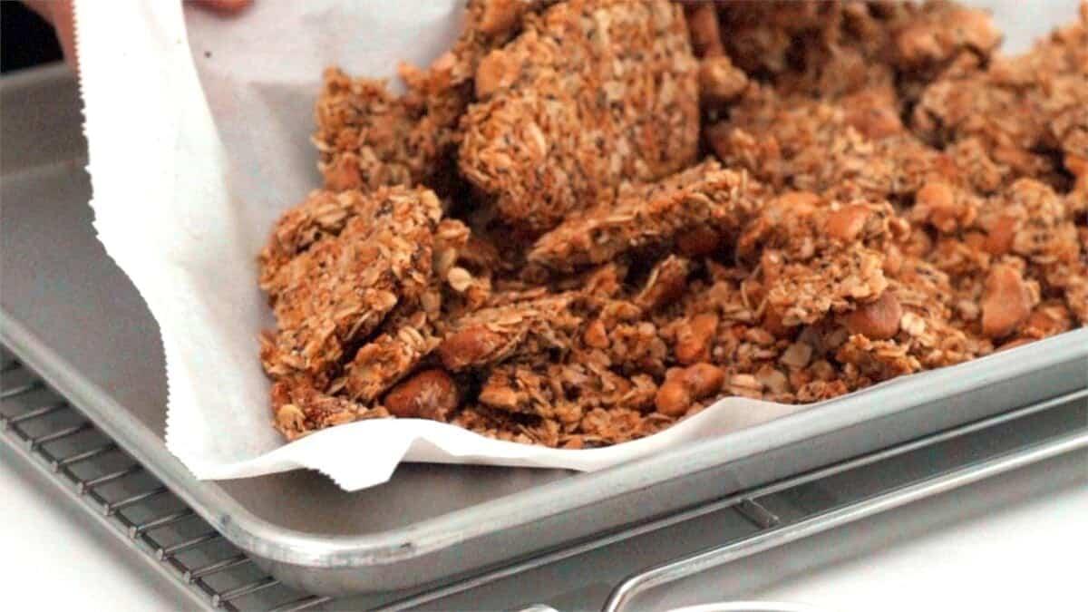 Homemade granola broken up into clusters.