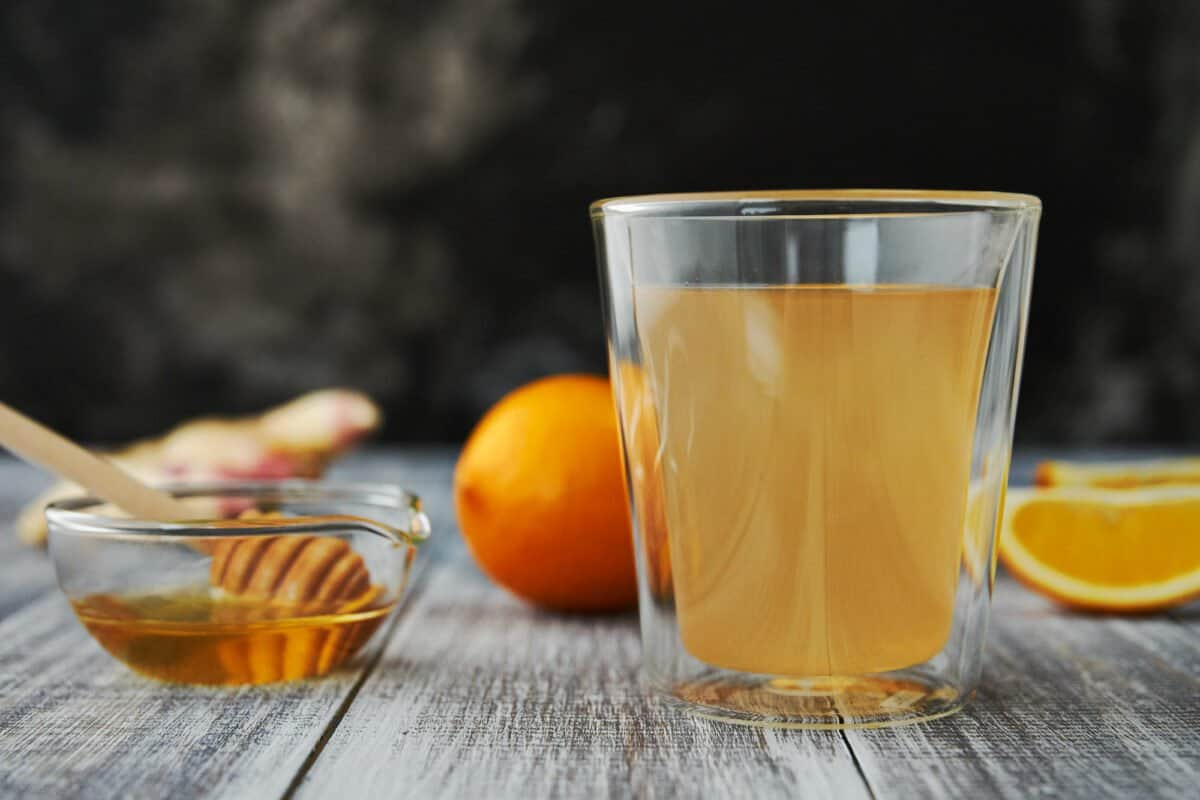 Fresh ginger and boiling water is all you need to make a warming ginger tea, but adding Meyer lemon and honey take it to the next level.