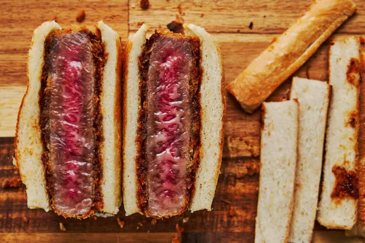 Marbled A5 grade wagyu beef is the key to the texture of this sandwich. Crisp on the outside, and melt-in-your-mouth tender on the inside, this Wagyu Katsu Sandwich is a decadent splurge that ou can make at home.