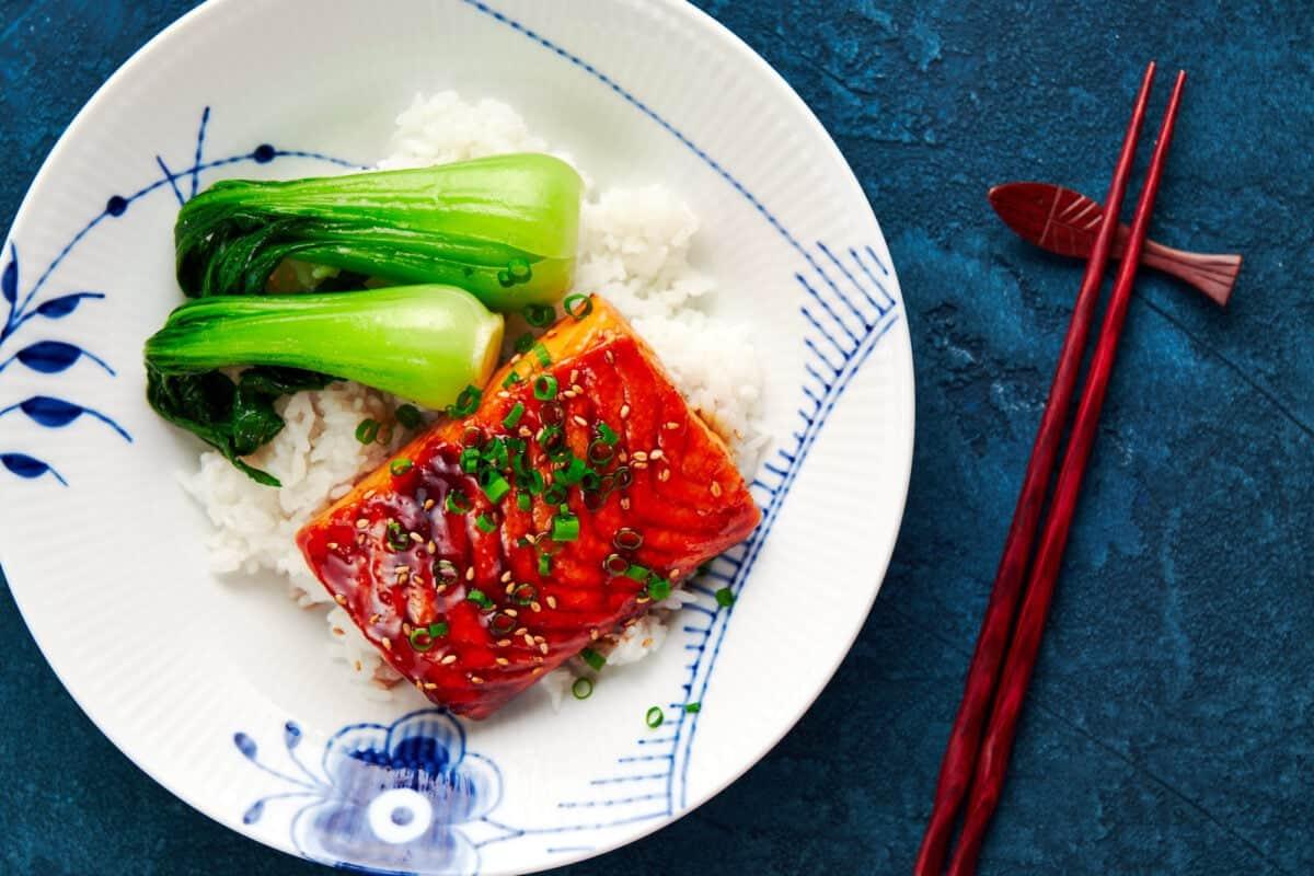 Salmon filet glazed in Japanese teriyaki sauce with bok choy and rice.