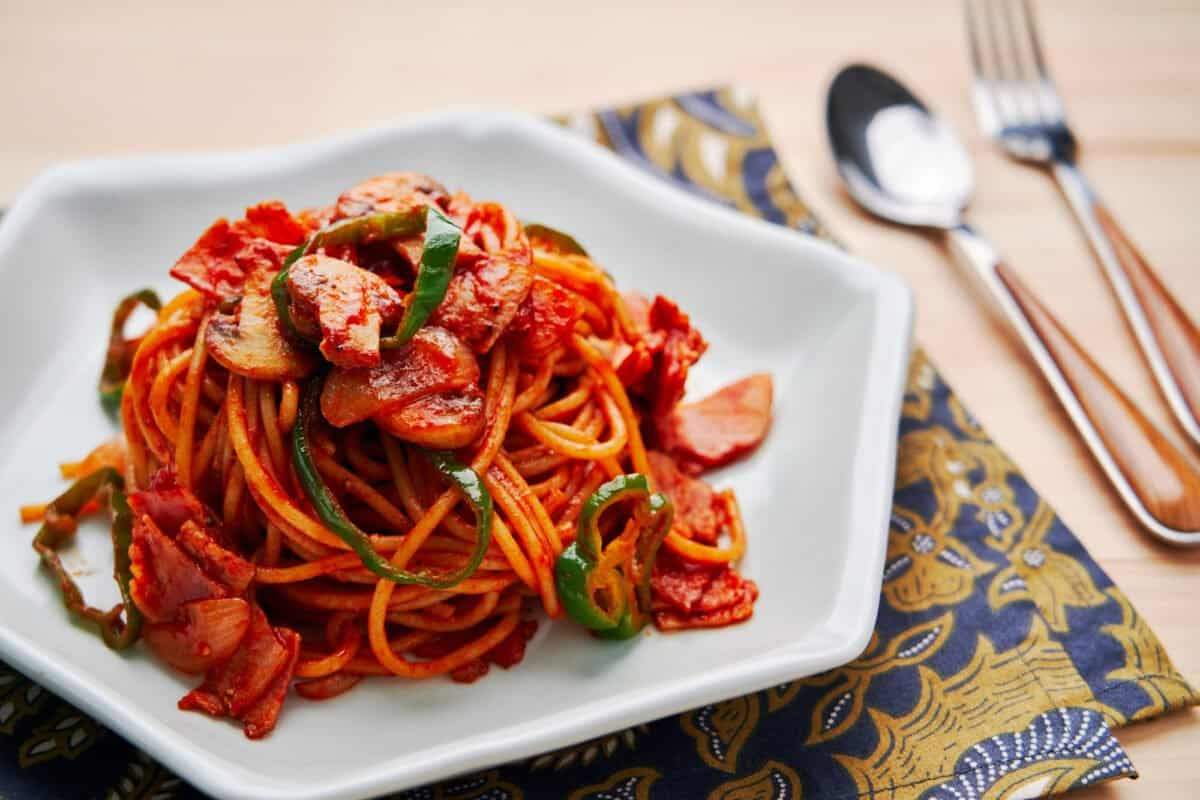 Savory, sweet, and tangy spaghetti Napolitan is a classic Japanese-style pasta the comes together from just a handful of pantry staples.