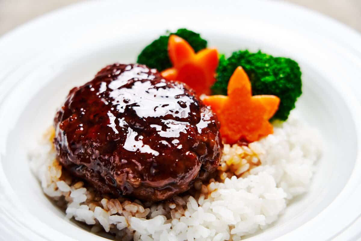 Tender, juicy Japanese style Hamburg Steak glazed with teriyaki sauce.