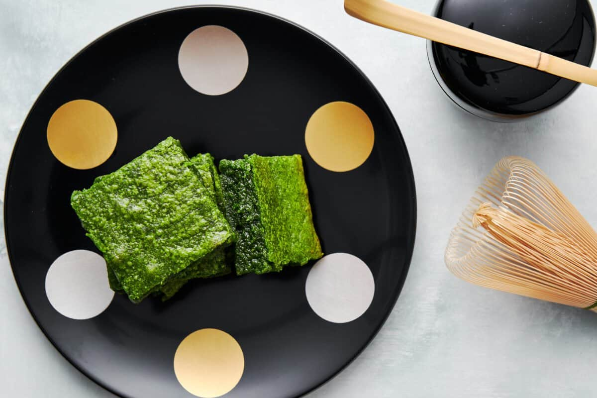 Japanese-style brownies made with white chocolate and matcha green tea powder.