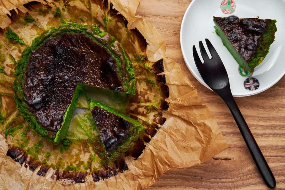 Green tea powder gives this easy Basque Cheesecake it's vibrant green hue.