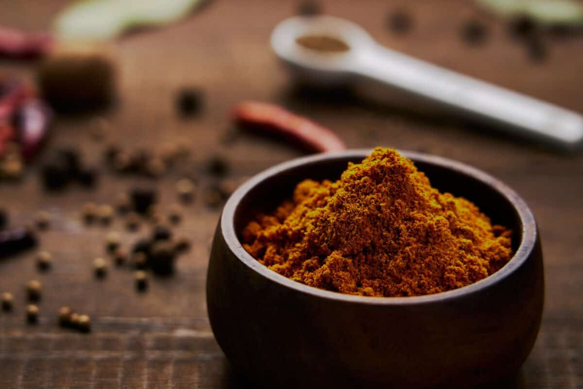 Golden Japanese curry powder made with 20 different spices, including turmeric, cumin, coriander, star anise, citrus zest, dill, and sage.