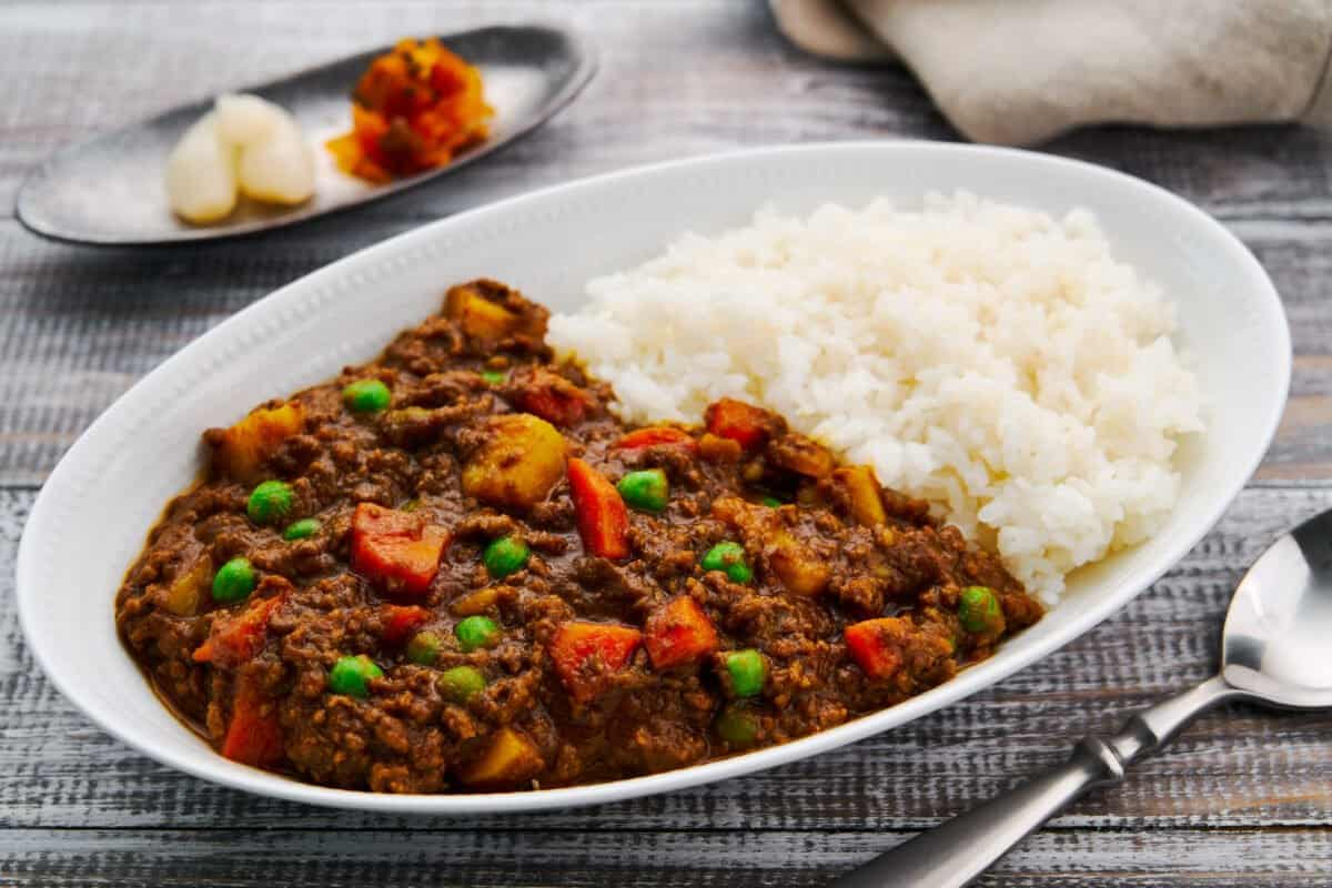 This quick Japanese curry from scratch makes for a satisfying weeknight meal made with potatoes, carrots, and ground beef in a thick savory curry sauce.