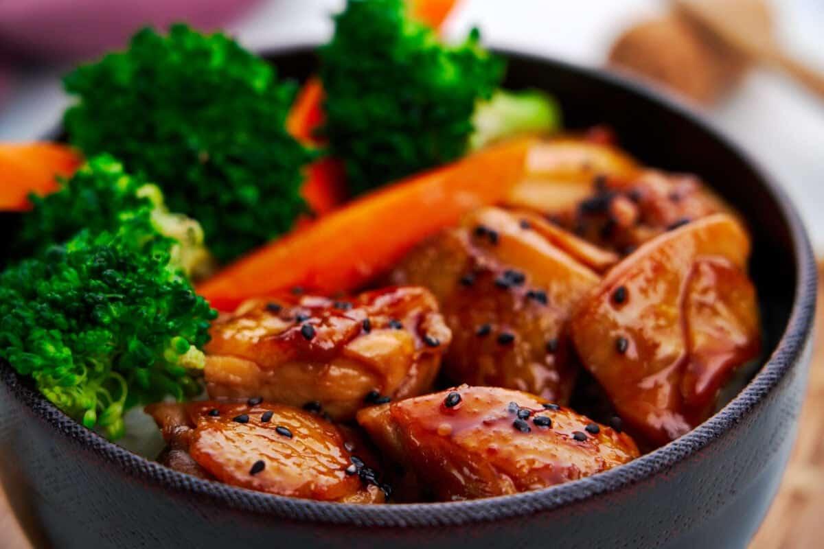 Juicy chicken teriyaki bites glazed with a simple 3-ingredient teriyaki sauce.