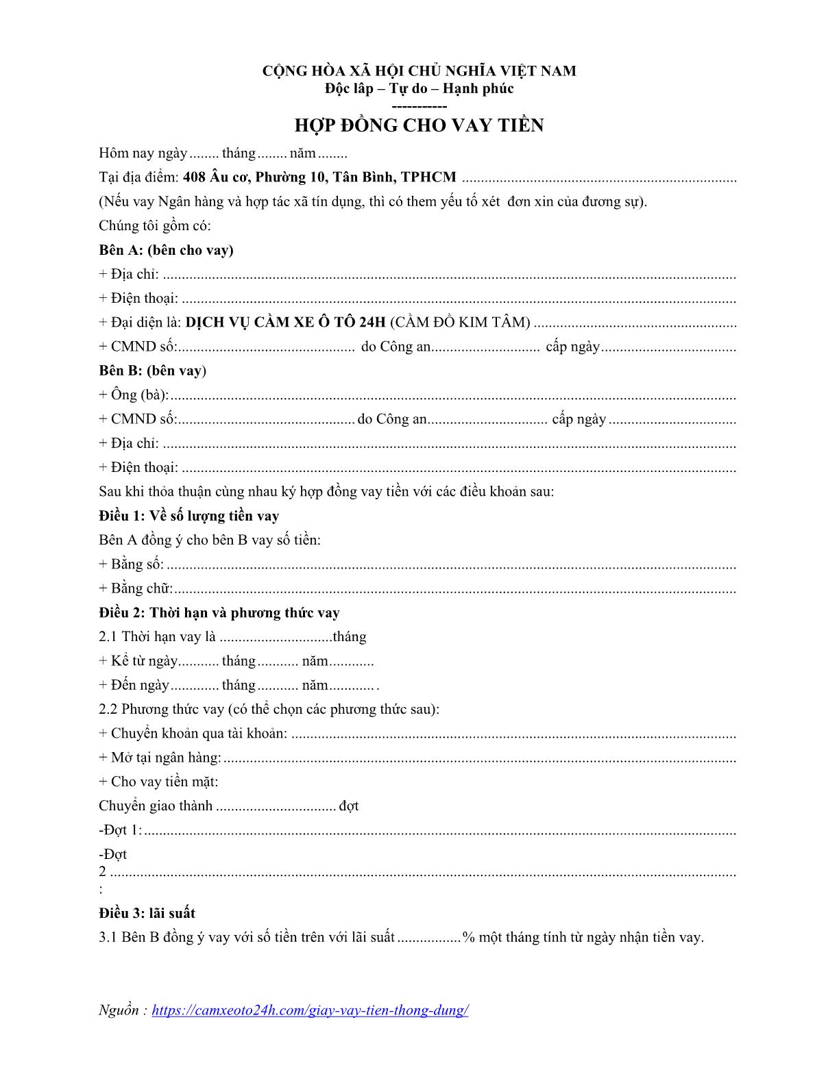 hợp đồng vay tiền trang 01