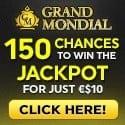 Grand Mondial Casino 150 free spins on Mega Moolah and 100% welcome bonus
