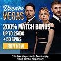 Dream Vegas Casino 50 free spins and €2500 welcome bonus