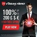 Vegas Hero Casino 50 free spins and 1000 EUR welcome bonus