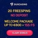 Dux Casino 20 free spins no deposit bonus
