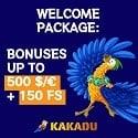 Kakadu Casino 150 free spins and $/€500 Welcome Bonus