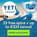 Yeti Casino 23 free spins and 333 EUR welcome bonus