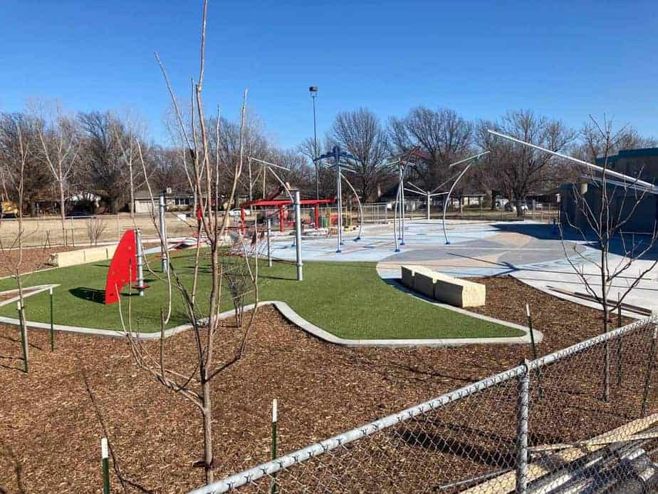 New Boston Park splash pad - still under construction but nearing completion by City of Wichita Park and Recreation department