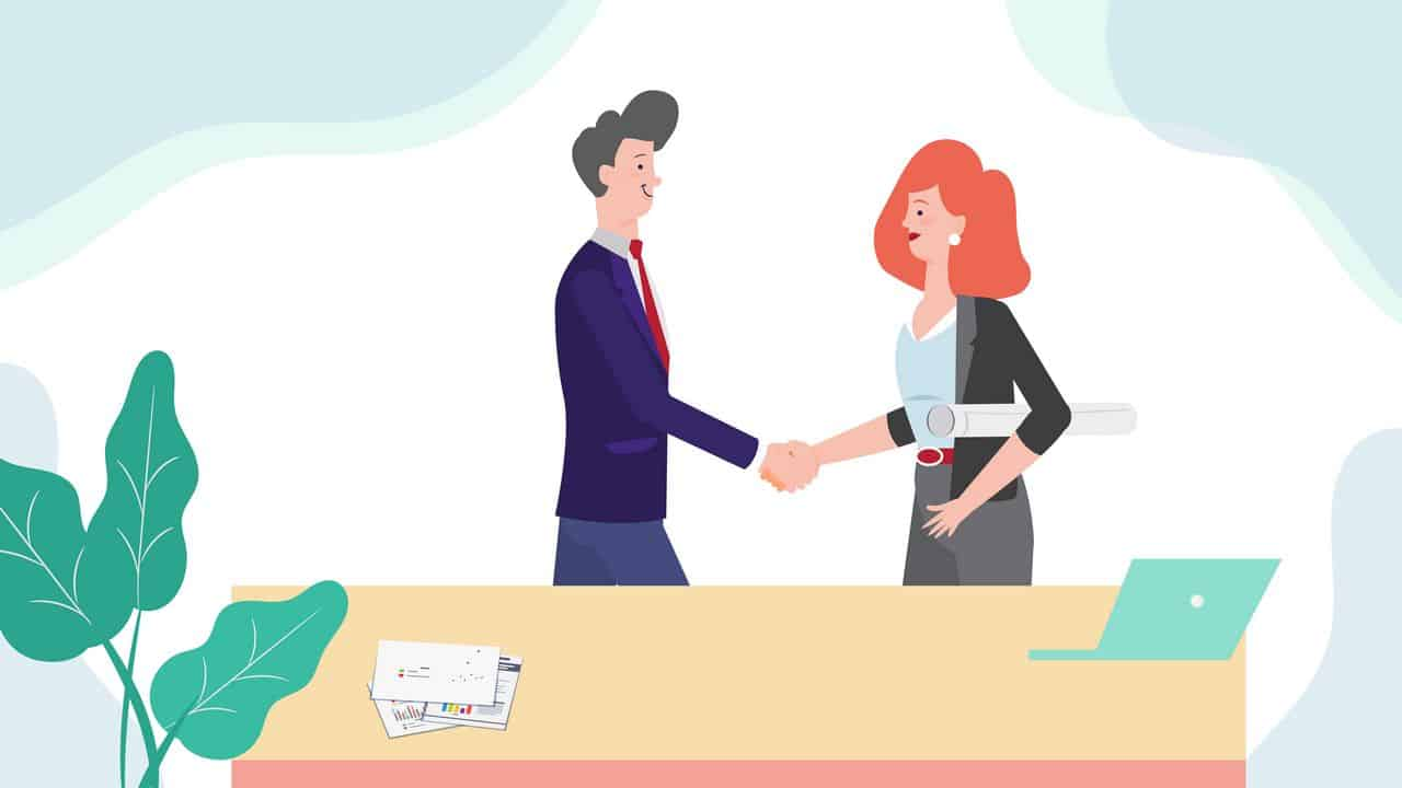 People shake hands in Animated Video