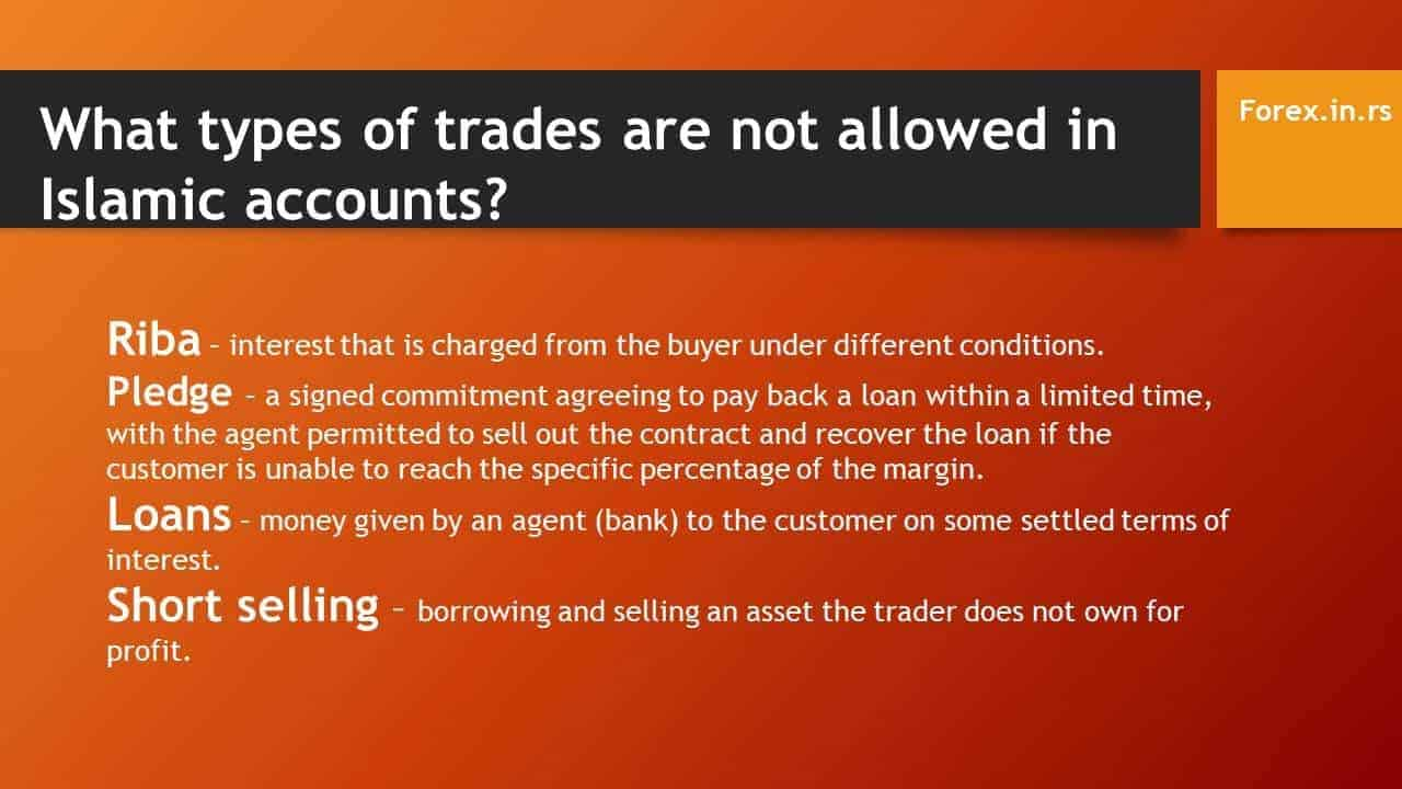 What types of trades are not allowed in Islamic accounts? - trading haram halal