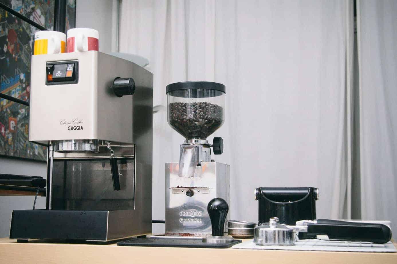 Gaggia Classic espresso machine with other espresso making equipment