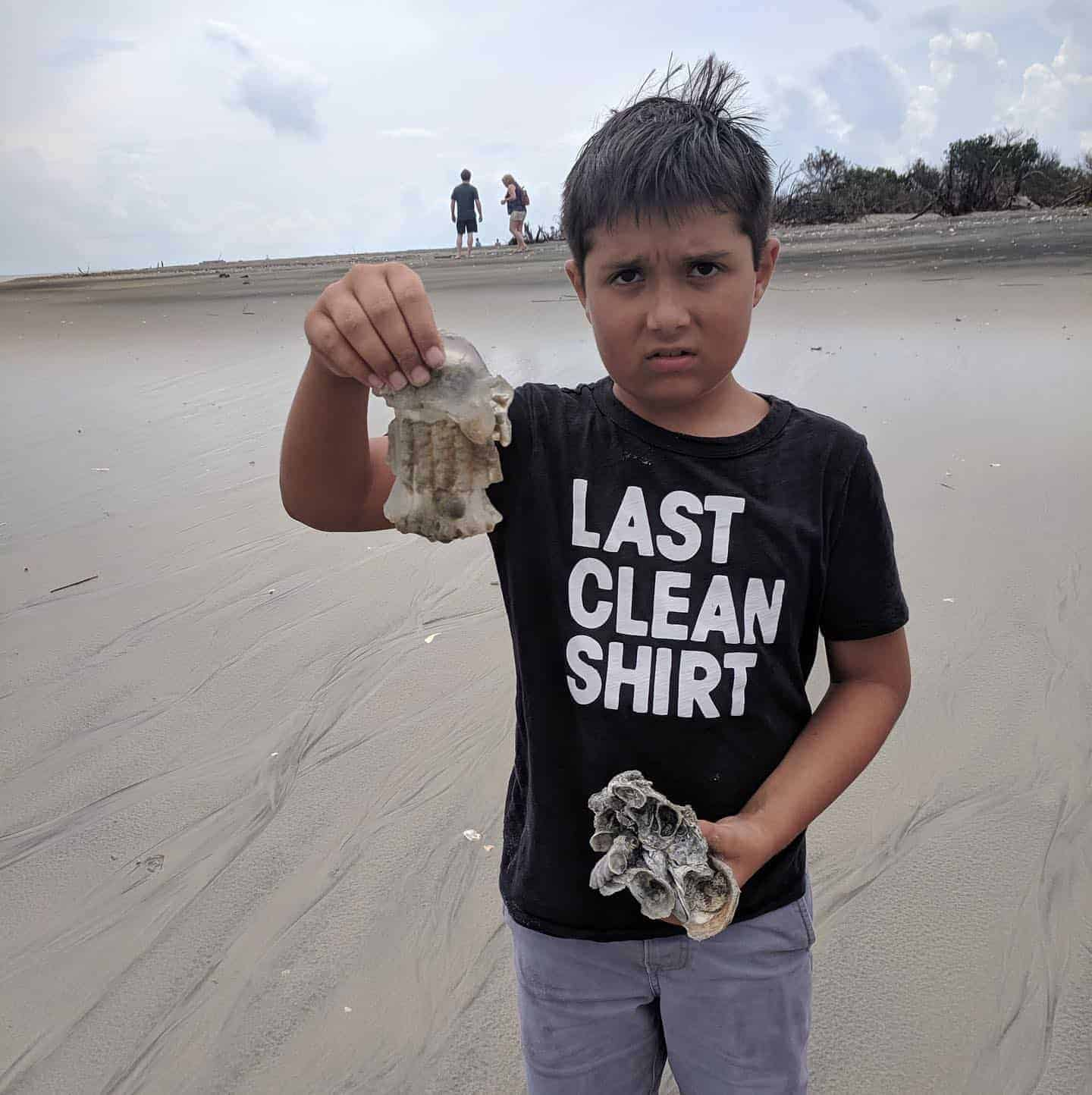 Child holding two of his beach findings. Nature boat tours Charleston