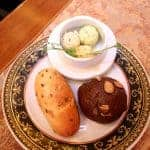 Fresh bread with three kinds of butter