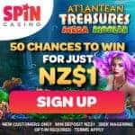 Buy $1 get 50 free spins on Atlantean Treasures Mega Moolah