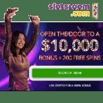 Slotsroom Casino 200 free spins and $10,000 welcome bonus
