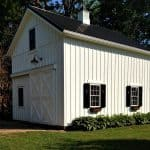 a pole barn garage completed with loft for workspace