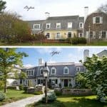 the before and after photo of the 1970s house's front view