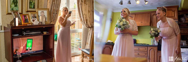 Bridesmaids laughing while taking photographs.
