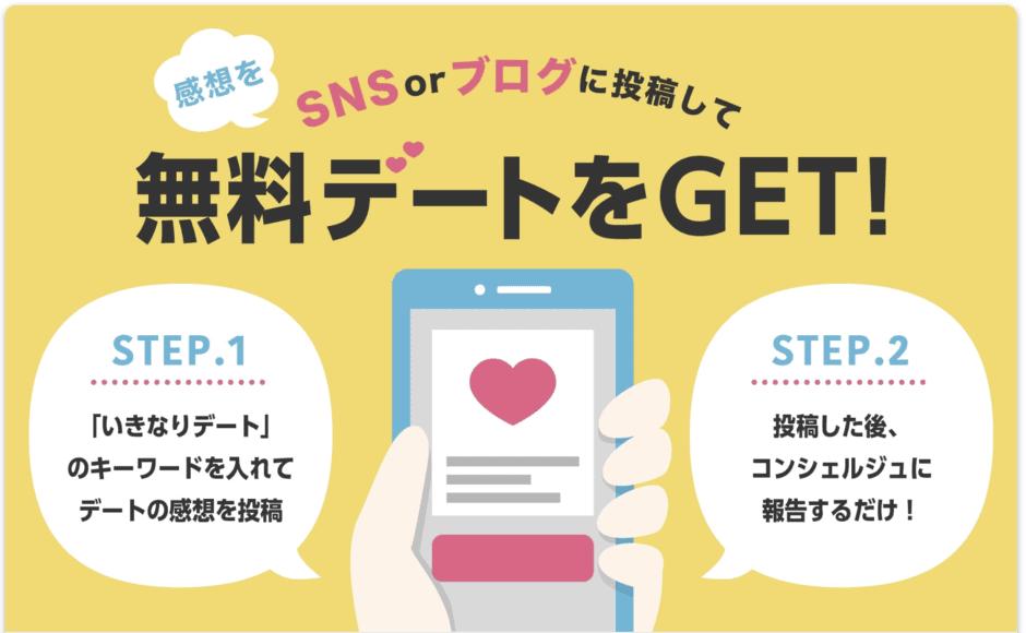 【レビュー投稿コンシェルジュ報告限定】いきなりデート「デート無料」キャンペーン