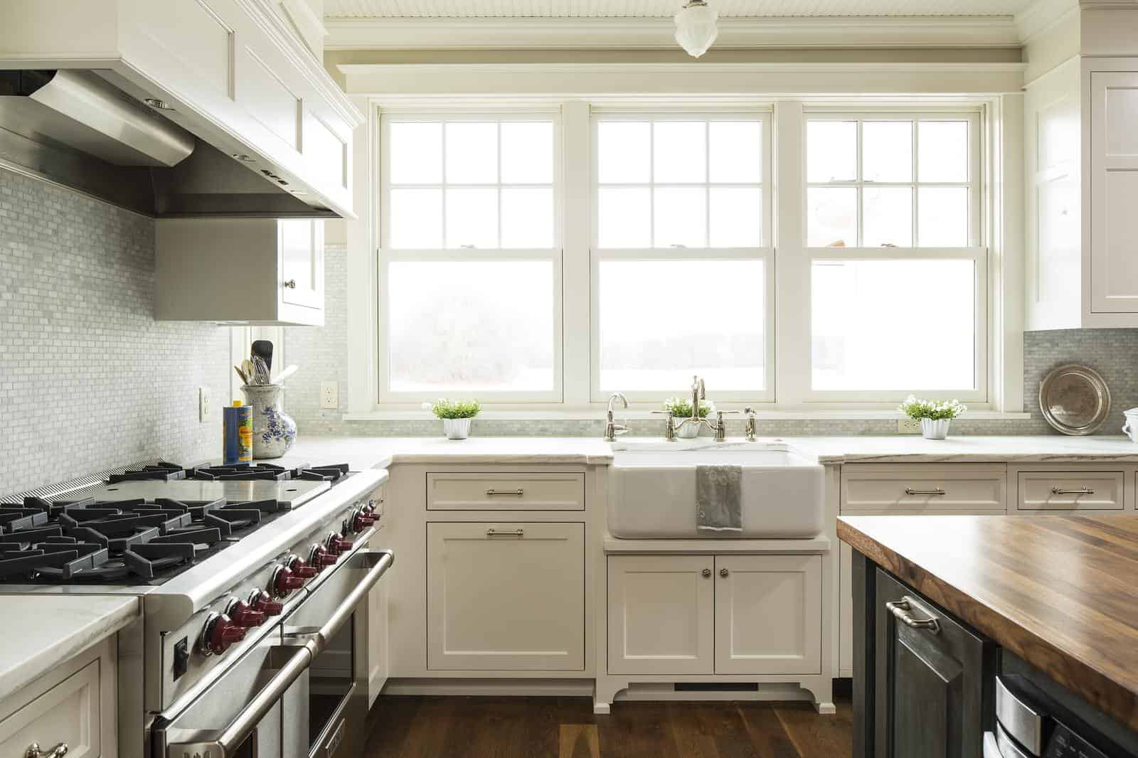 off-white cabinets in farmhouse kitchen