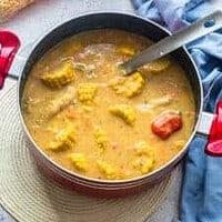 Large pot of corn soup