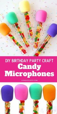 Candy Microphones Birthday Party Craft Favors